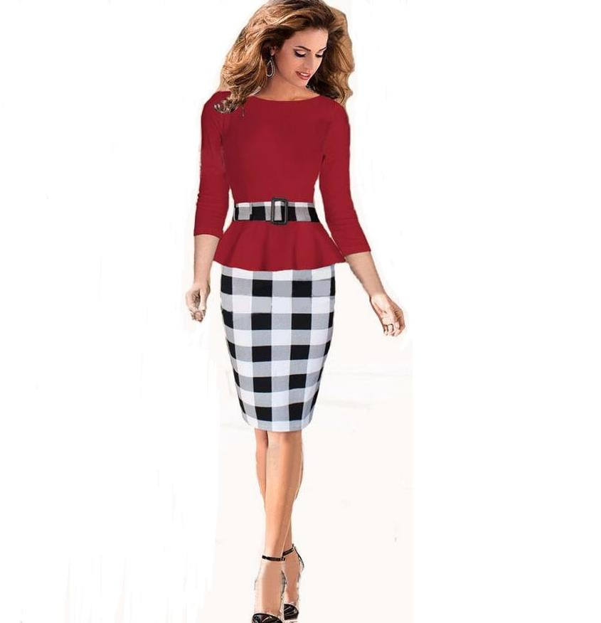 Women Autumn 2/<font><b>6</b></font> Sleeve Vintage Rockabilly Patchwork Black White Checkered Pattern Work Wear Party Stretch Bodycon Wiggle <font><b>Dress</b></font> image