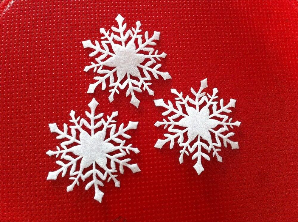 Hot 70mm christmas white felt snowflake christmas for Big snowflakes decorations