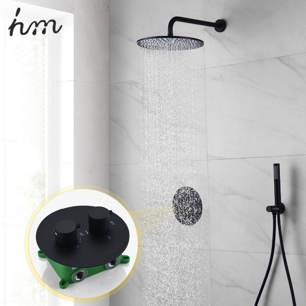 hm Black Shower Antique Wall Mounted Rain Shower & Hand Shower Brass Head Size-200mm/250mm Black Shower System