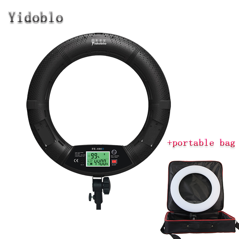 Yidoblo FE-480II Black Photo Studio LED Ring Light + Portable bag LCD Screen Lamp RC Photographic Lighting 5500K 480LED Lights portable photo studio 4 photographic backgrounds 1 camera stand 2 halogen lights w carrying bag
