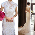 2017 Evening Dress Sexy Open Back Long Lace Bridal Gown Fashionable Brideslmaid Dress White Red Color Availabal Lady Dress