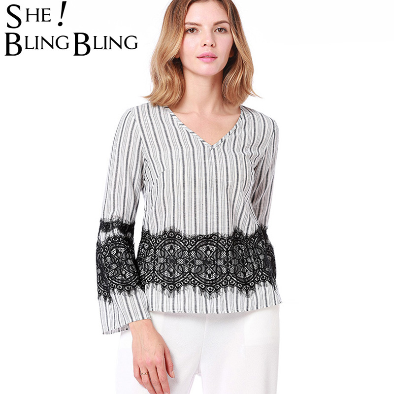 SheBlingBling Spring Ladies V-neck Long Sleeve Chiffon Mesh Tee Tops Tshirts Female Pullover Women Lace Patchwork Beach T Shirts