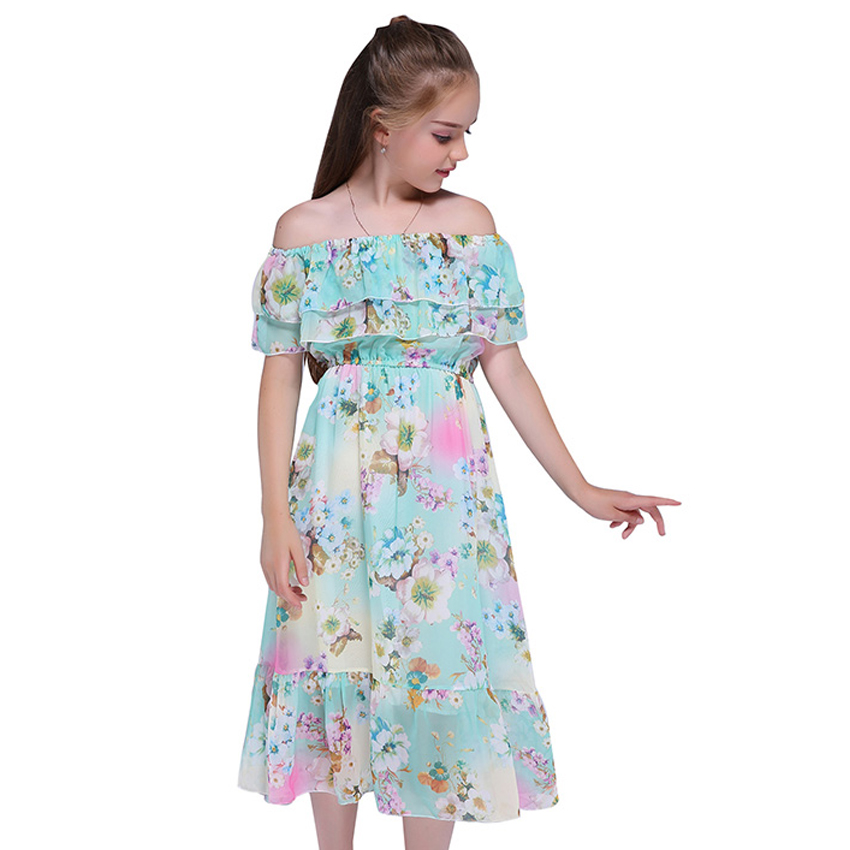 Girls Dresses for Kids Clothes Sweet Toddler Big Kids Boho Beachwear Print Sleeveless Long Dresses 6 8 10 12 Years Vestidos sweet years sy 6282l 07