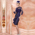 Glamorous Navy Blue Sheath Lace Mother of Bride Dress Knee Length Beaded Prom Party Gowns Mother Bride Dresses M151