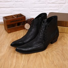 купить New Western Style Mens Ankle Boots Low Cowboy Boots Pointed toe lace up Black high top Men Boots Military Work Boots Men Shoes по цене 6279.06 рублей