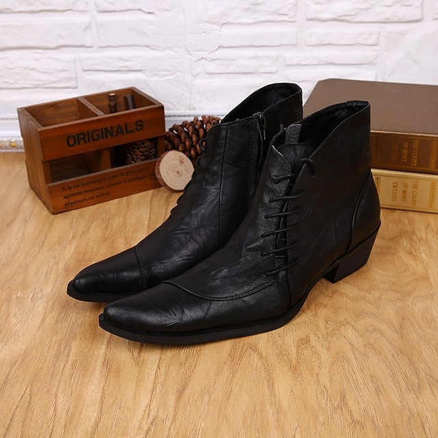 0c9e04736a New Western Style Mens Ankle Boots Low Cowboy Boots Pointed toe lace up  Black high top Men Boots Military Work Boots Men Shoes