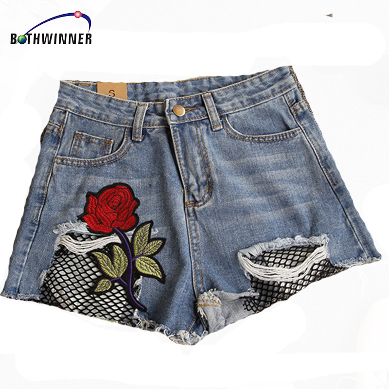 Bothwinner Fishnet Mesh Denim Shorts Women Blue Appliques Sexy Frayed Hem Summer Shorts 2017 New Floral Embroidery Ripped Short