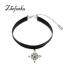 Fashion 2017 Crystal Leather Choker Necklaces Women Punk Pendant Necklace Gothic Choker Fashion Goth Boho Jewelry For Girls