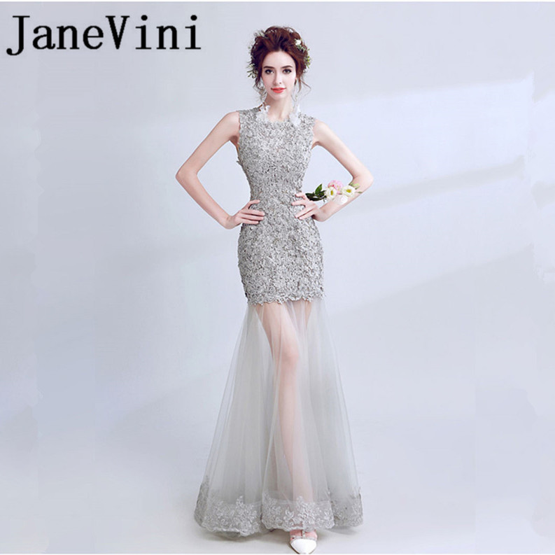 JaneVini Elegant Mermaid Long   Bridesmaid     Dresses   Tulle Lace Appliques O-Neck Beaded Backless Floor Length Robe Fille D'honneur