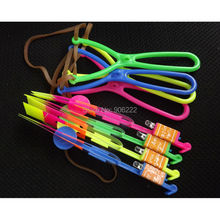 8 pieces Big Size Blade Y Shape Slingshot LED Copter Lighting up Toy Led Arrow Helicopter Flying Rocket(China)