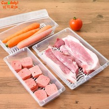 Fridge Food Fruit Storage Box Plastic Transparent Meat Vegetable Storing Bin Nov(China)