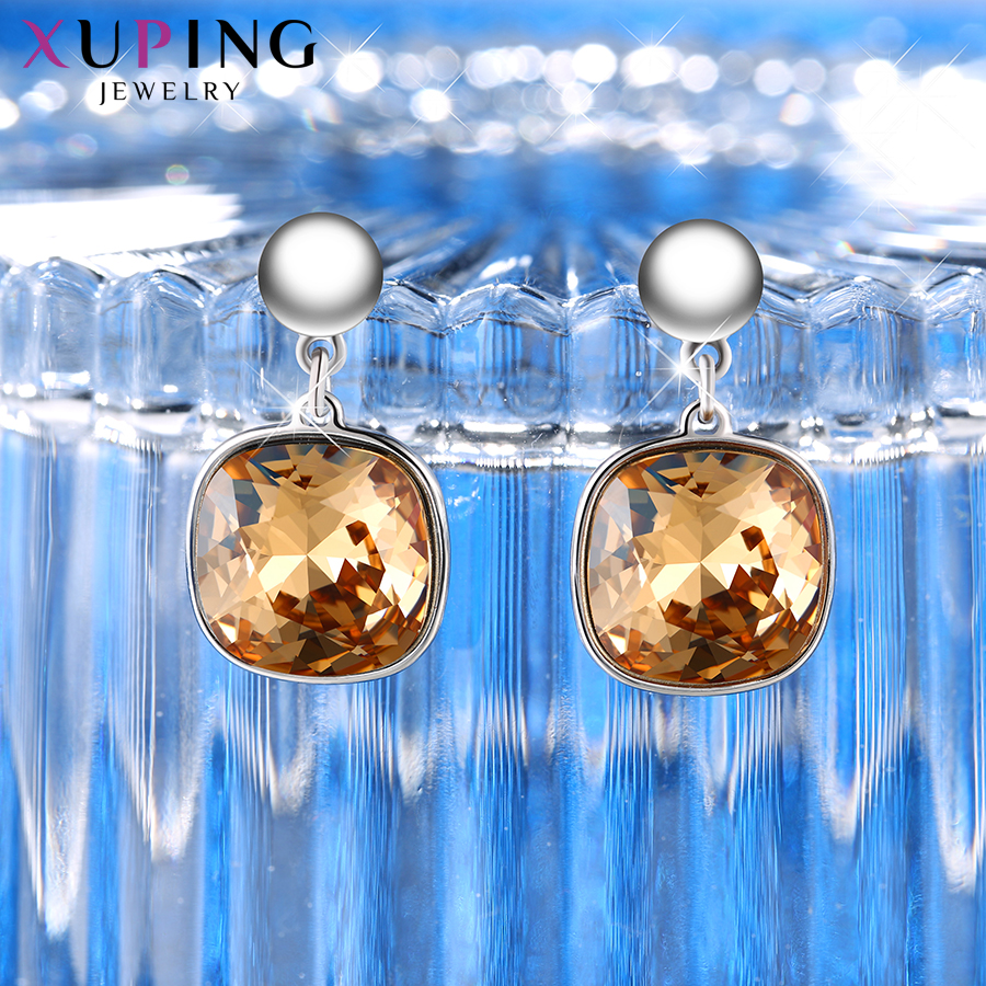 HTB1Z3R6XynrK1RjSsziq6xptpXaC - Xuping Square Earrings Crystals from Swarovski Luxury Vintage Style Jewellery Women Girl  Valentine's Day Gifts M94-20493