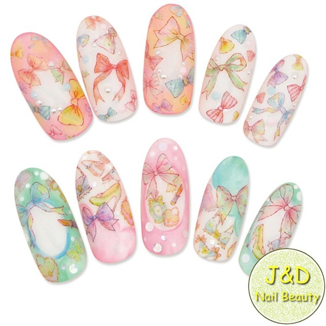 Wholesale 24pcs Colorful Bowknot Nail Art Sticker Nail Decals Bow ...