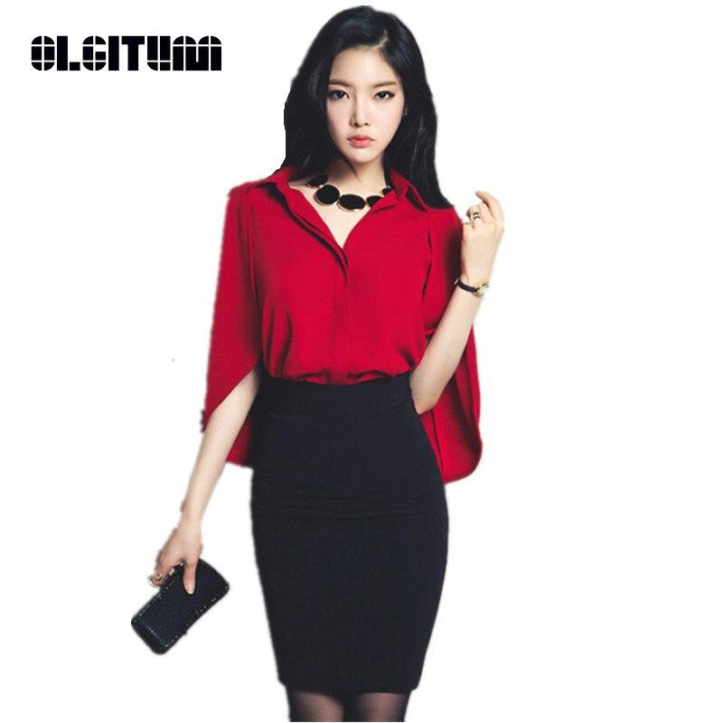 Bs071 Red 2018 Olgitum Camisa Media Mujeres Batwing Primavera Verano Silm Manga cuello V Blusa Grande Oficina Superior FaawpUqZx
