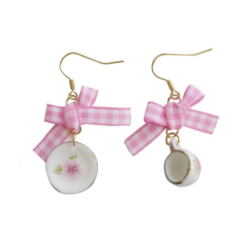 Earrings For Women Bowknot Is Melting Fashionable Joker Temperament Asymmetric Coffee Cup Dish Eardrop Bowknot Earrings