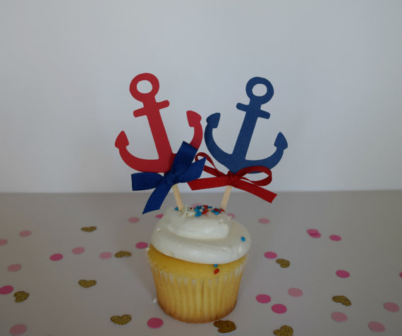 Anchor Cupcake Toppers, Nautical Party Baby Bridal Shower Birthday Ocean  Wedding Cake Topper Decor(
