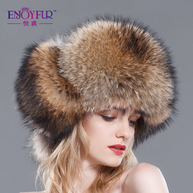 2016 Women Winter Autumn Outdoor Thermal Hat Elegant Racoon Fur Cap Real Fur Ear Protector Caps Female lei feng Snow Cap