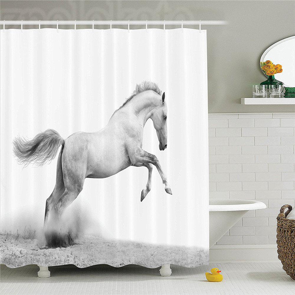 Animal Horse Power on the Sand Tropic Gulf Island National Seashore Florida Plants Landscape Polyester Bathroom Shower Curtain