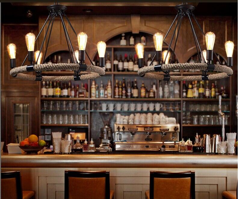 ZYY Melhor Preço País da América Do Vintage Corda de Cânhamo Corda de Luzes De Teto RÚSTICO Ferro Do Vintage Luz Retro Cafe Bar Restaurante Luz - 4