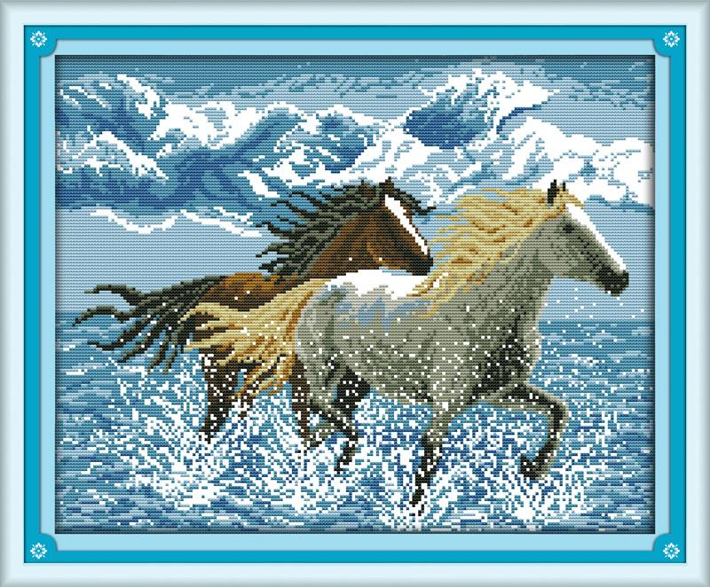 Cross-stitch Amicable Running Horses Pattern 14ct 11ct Diy Needlework Dmc Cross Stitching Counted Cross Stitch Kits For Embroidery Home Decor Crafts Pure Whiteness Aida Cloth