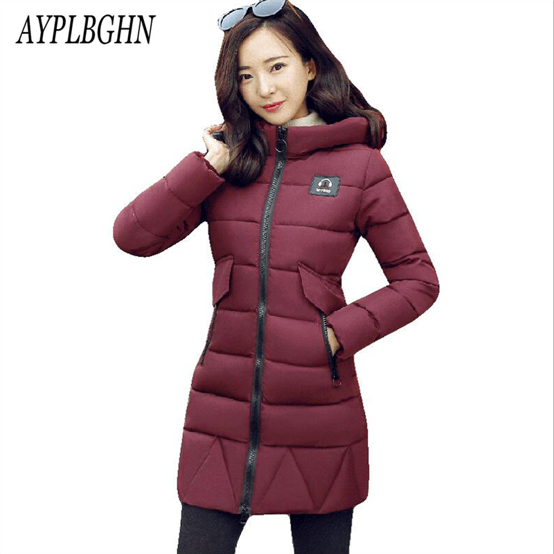 New Women Winter Coat Hooded Solid color Large size 2XL Warm Jackets Coats Parka Medium long Thicken Cotton Jacket Coats 5L57 winter women parkas solid color mid long section large size thicken down cotton jackets fashion hooded slim cotton coats ly0254