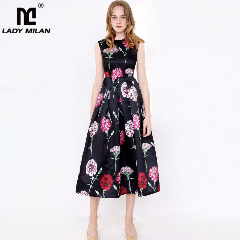 New Arrival 2019 Women s Runway Dresses O Neck Sleeveless Floral Printed Ruched High Street Fashion