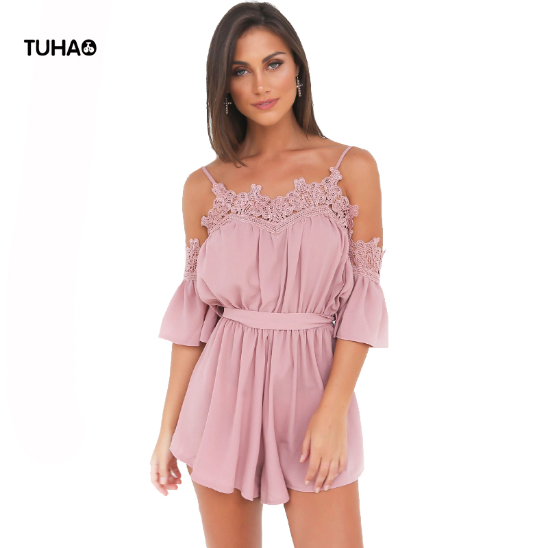 TUHAO 2018 Summer Playsuits Women Bodysuit Lace Slash Neck Off Shoulde Solid Chiffon Sexy Siamese Pants With Sashes T81025