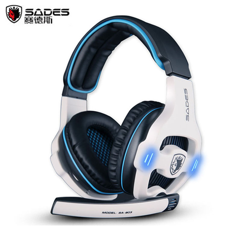Best Gaming Headset Sades SA-903 casque 7.1 Surround Sound Channel USB Wired Headphone with Mic Volume Control for PC Game Gamer each g1100 shake e sports gaming mic led light headset headphone casque with 7 1 heavy bass surround sound for pc gamer