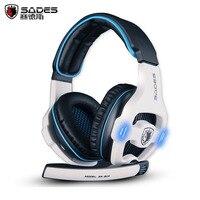 Melhor fone de ouvido de jogos sades sa-903 casque som surround 7.1 canais USB Com Fio de Fone De Ouvido com Controle de Volume do Microfone para o Jogo de PC Gamer