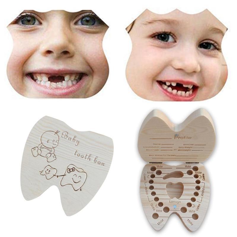 Baby Tooth Box English Wooden Milk Teeth Storage Collect Teeth Save Organizer Storage Box Boys Girls Baby Souvenirs Gift