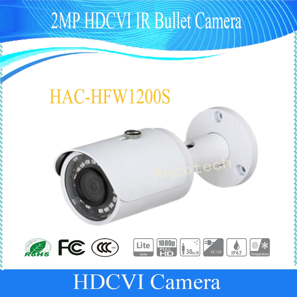 Free Shipping DAHUA Original English Security Camera CCTV 2M 1080P Water-proof HDCVI IR Bullet Camera without Logo HAC-HFW1200S dh hac hfw2221r z ire6 dahua original hd 1080p infrared night vision security camera ip67 audio cctv camera hac hfw2221r z ire6