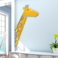New Arrival Half Body Giraffe 3D Acrylic Stickers DIY Living Room Kids Room Wall Decorations Yellow
