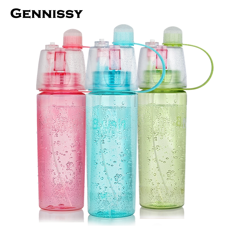 Gennissy bottle 400ml 600ml creative water spray sports for Creative use of plastic bottles