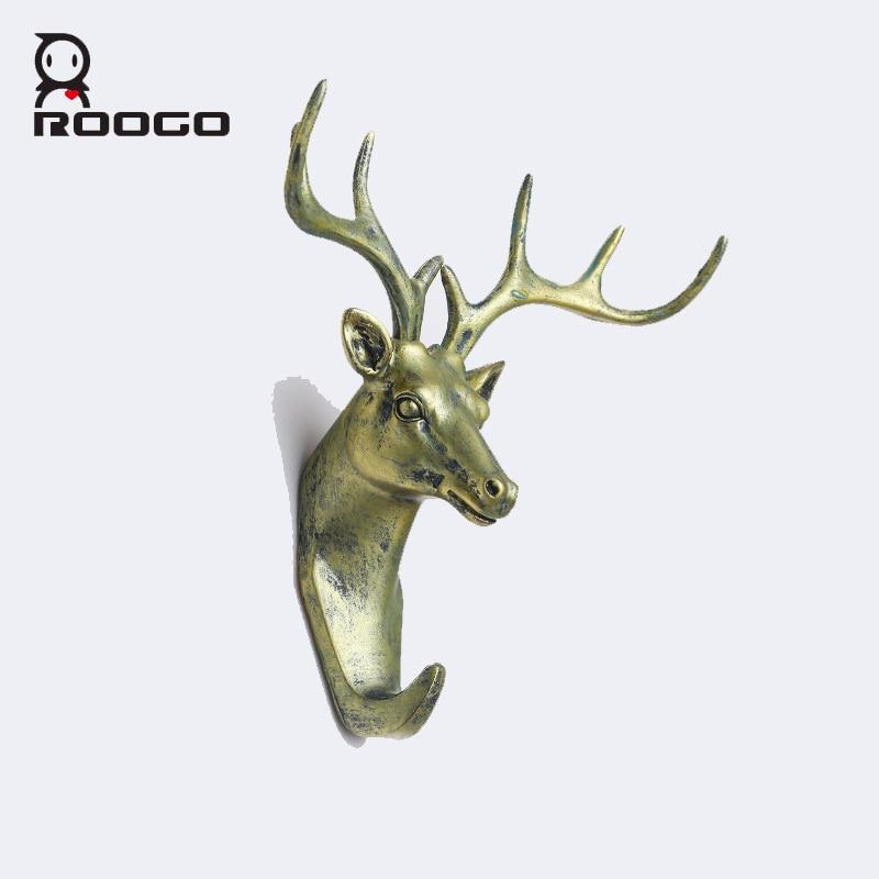 Roogo champagne bronze deer head Shape Wall Hanger Goat Head Coat Hat Hook  Rack hooks for bags 2 colors shining royal art decor