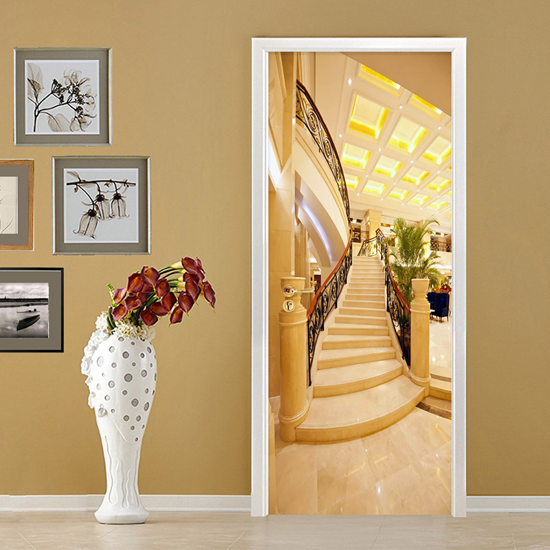 European Style Golden 3D Stereo Stairs Door Stickers Wallpaper PVC Self-Adhesive Waterproof Door Decals Home Decor Door Poster