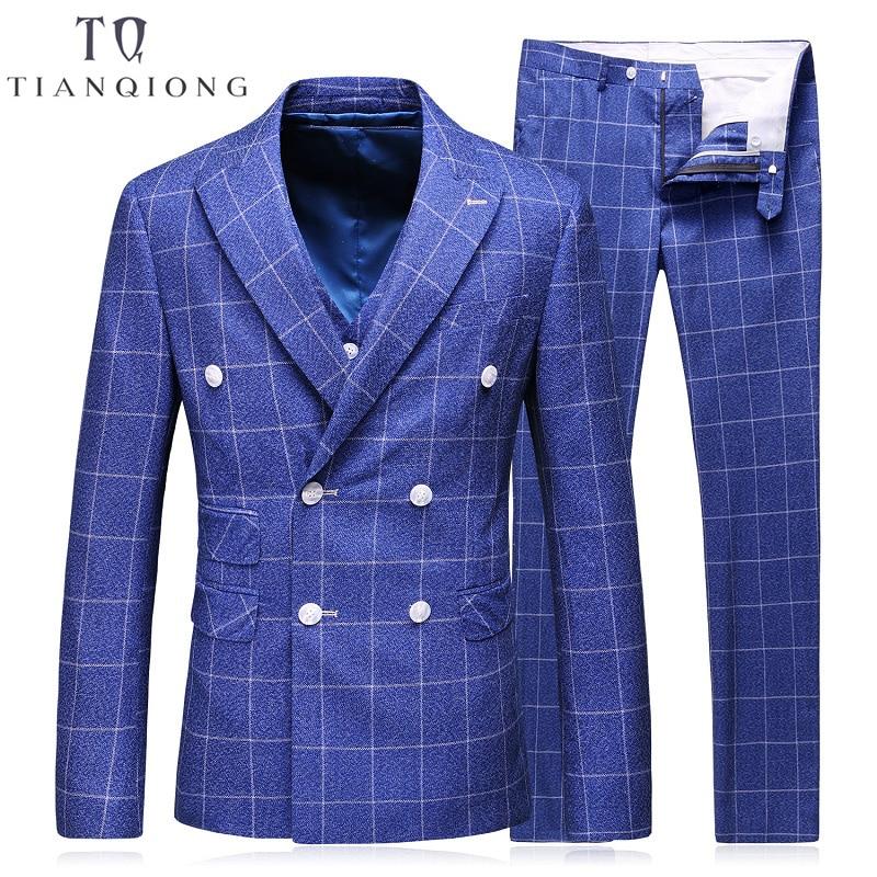 Pcs Plaid Costumes Smoking Tian Veste Célèbre Costume Slim Fit De 3 Bleu Breasted Double Marque Royal Pour Les Mariage Qiong 2018 Hommes wHq1fSw