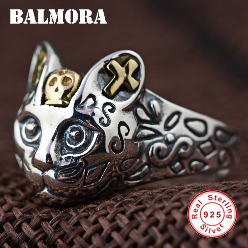 BALMORA 100 Real 925 Sterling Silver Cute Cat Finger Rings For Women Men Party Gifts Resizable