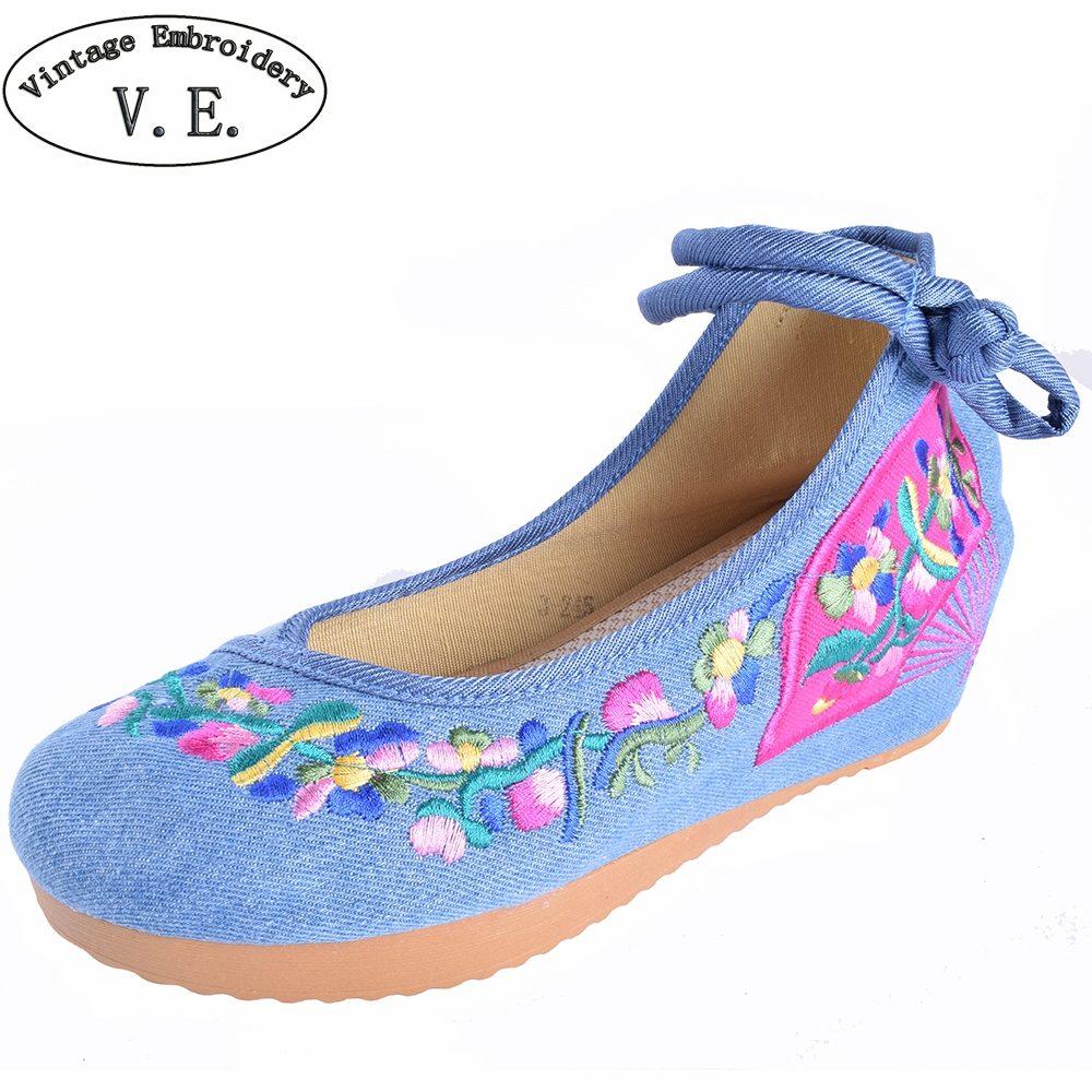 5CM High Heels Women Shoes Ethnic Retro Old Peking Shoes Mary Jane Canvas Increased Internal Embroidery Soft Cloth Woman Pumps