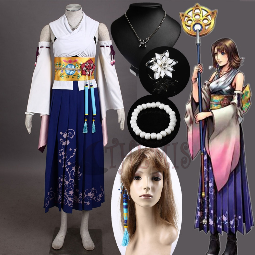 Athemis Final Fantasy Ten Yuna Cosplay llamado traje de alta calidad igual que el personaje original de cualquier tamaño