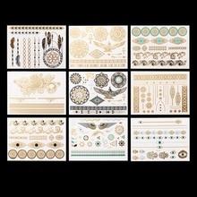 Hot Popular 9Pcs Metallic Bronzing Retro Temporary Tattoos Fashion Body Art Makeup Stickers Tattoo