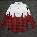 Мужчины Красный Клетчатую Рубашку Улице Носить Рубашки С Длинным Рукавом Звезда Kanye West С Белый Синий Клетчатую Рубашку