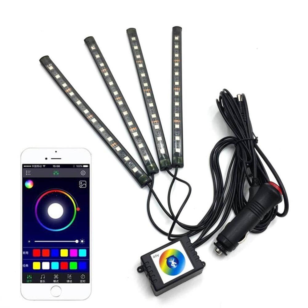 Car Interior Rgb Led Strip Light Atmosphere Neon Decoration Lamp Light With  Phone Bluetooth App Intelligent Control Multi Color