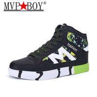 MVP BOY Men Casual Shoes Spring Autumn Breathable Unisex Sneakers Shoes Fashion Superstar Lace up High Top Patchwork Flats Shoes