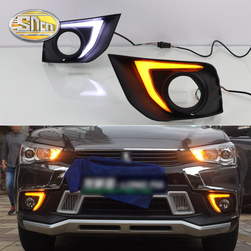 цена на For Mitsubishi ASX 2016 2017 2018 With Yellow Turning Signal Function Waterproof ABS Car 12V LED DRL Daytime Running Light SNCN