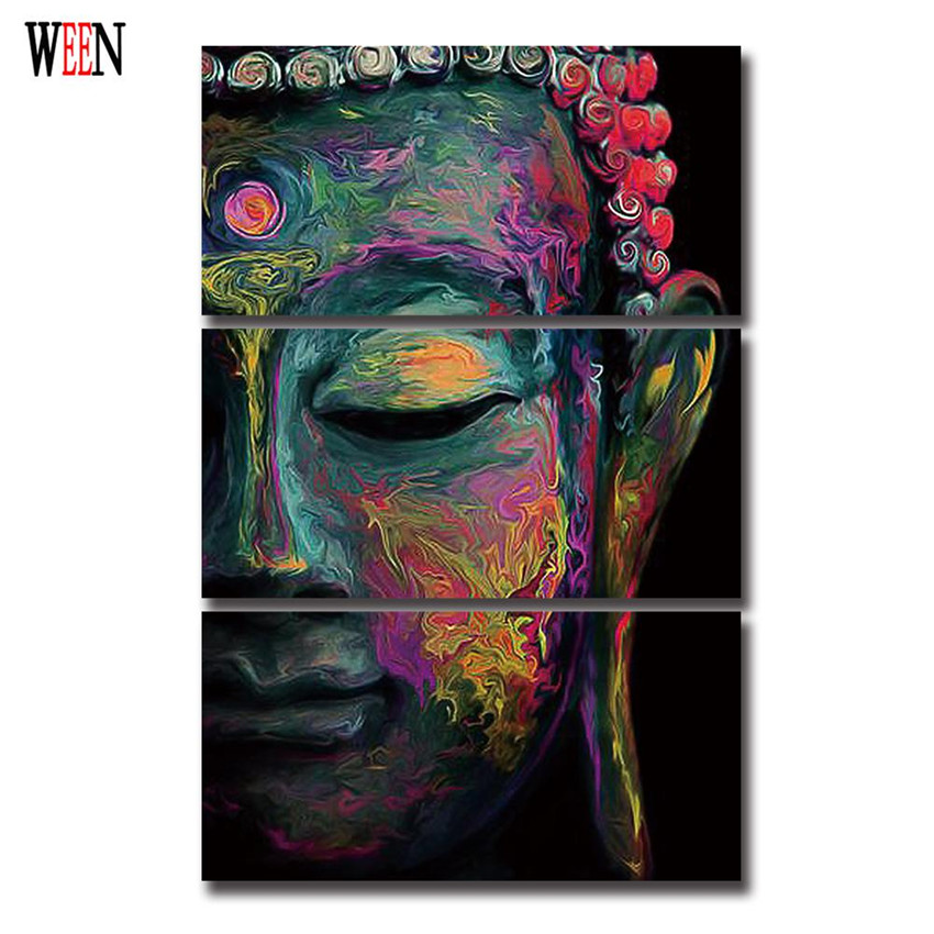 3pcs buddha art canvas painting Wall art abstract buddha ...