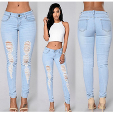 Pants Women Summer 2019 New Light Blue Skiny Denim Pencial Long Sexy Slim Hole Jeans Party Beach Vintage High Quality D30