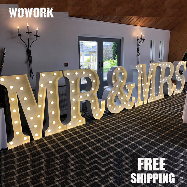 Decorative Giant Light Up Letters Wedding Party Led Letter Lights For Backgroud Prop Mr Mrs Waterproof Outdoor