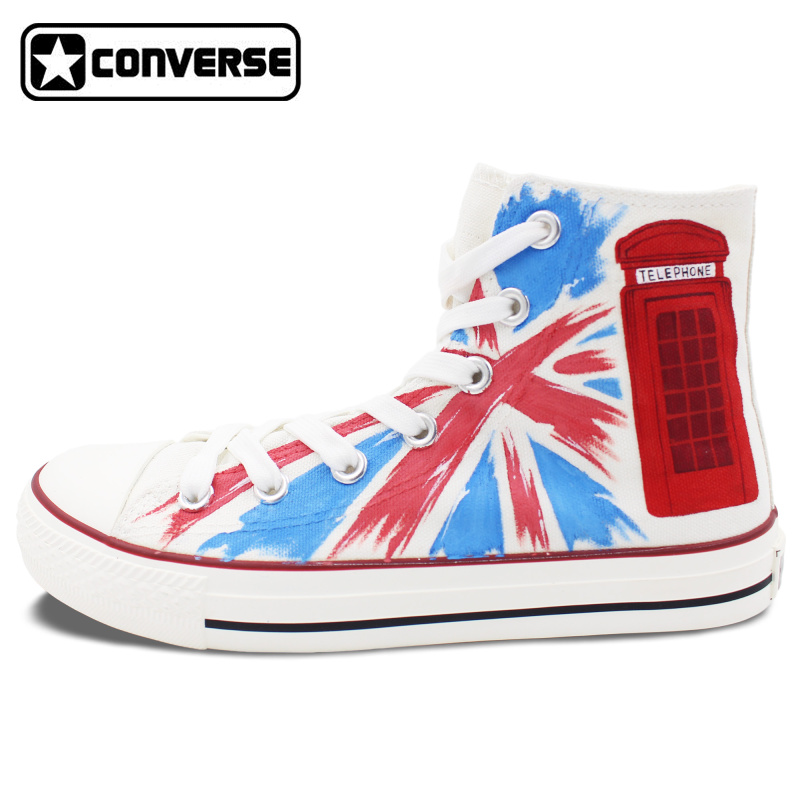 Woman Man Converse All Star UK Flag Union Jack Phone Booth Design Hand Painted font b