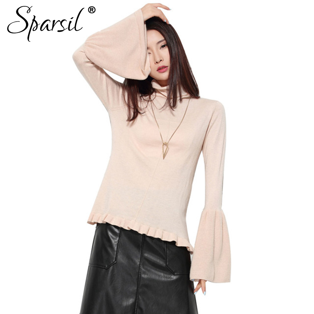 Sparsil Women Flare Sleeve Cashmere Blend Sweater Winter&Autumn Lady Ruched Hem Design Knitted Pullover