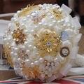 Последние Ручной Работы Жемчуг Свадебный Букет Шелк Свадебные Букеты Хрустальные Букеты FW158
